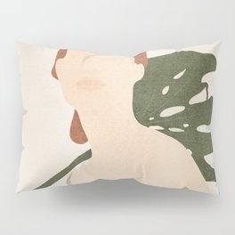 Holding the Monstera Leaf Pillow Sham