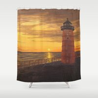 milwaukee Shower Curtains featuring Milwaukee Lighthouse by Hatton Custom Design