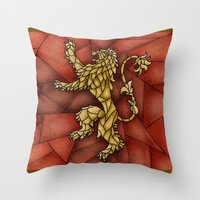 lannister Throw Pillows featuring House Lannister Stained Glass by itsamoose