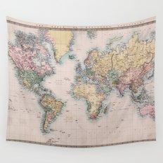 World Map 1860 Wall Tapestry