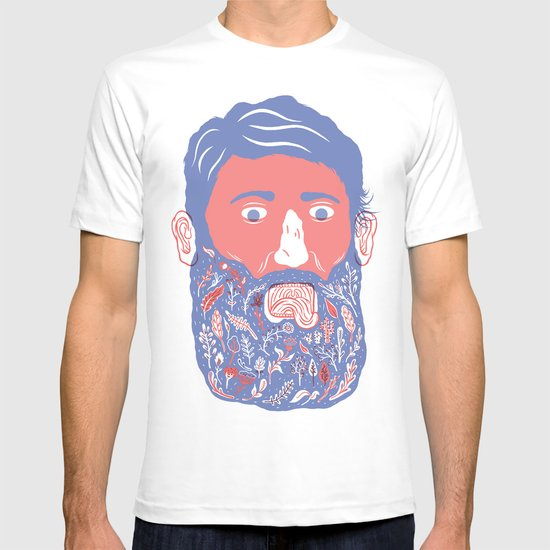 Flowers in Beard T-shirt