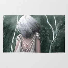 Girl  standing by a mountain Digital Art Painting Rug