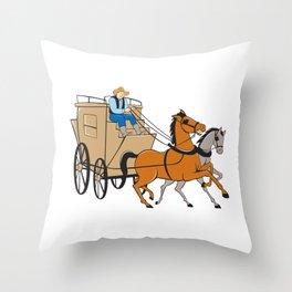 Stagecoach Driver Horse Cartoon Throw Pillow