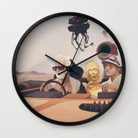 desert Wall Clocks featuring Fear and Loathing on Tatooine by Anton Marrast
