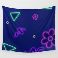 neon Wall Tapestries featuring neon  by Hannah Siegfried