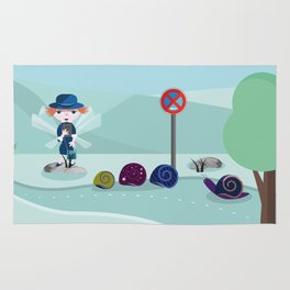 police woman take tickets to the snail Rug