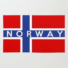 Norway country flag name text Rug