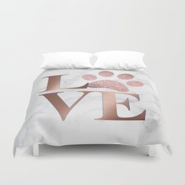 Love is a Four Letter Word - Rose Gold and Marble Duvet Cover