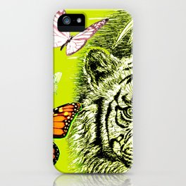 Tiger and Butterflies iPhone Case