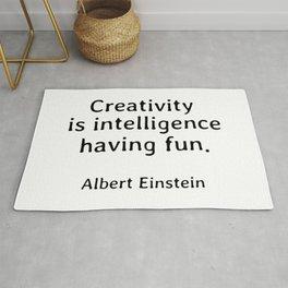 Albert Einstein Quotes Creativity is Intelligence Having Fun Rug