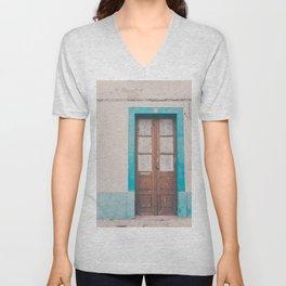 Rustic Door Print #doorprint #door #blueart Unisex V-Neck