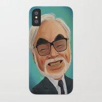 hayao miyazaki iPhone & iPod Cases featuring Hayao Miyasaki by CarolaRT