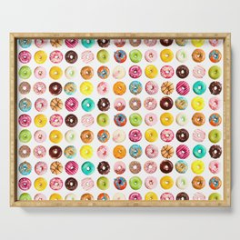 Funny Pattern With Juicy And Tasty Donuts Serving Tray