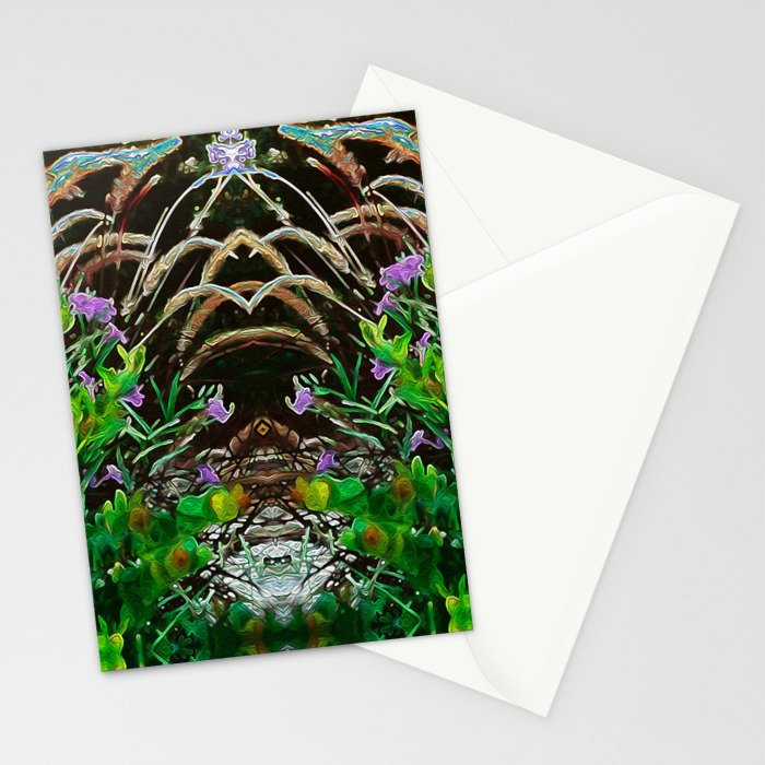 Cocoplum and Cattails op nature pattern Stationery Cards