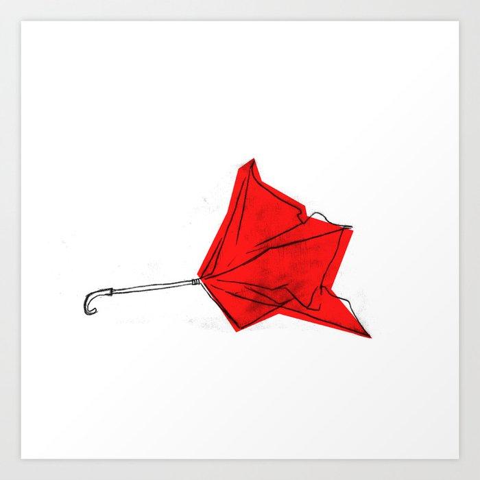a bad day. red umbrella down. Art Print