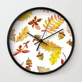 Watercolor pattern foliage oak leaves and acorn. Wall Clock