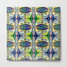 Green Mosaic - Lively tiles of green and blue Metal Print