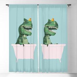 Playful T-Rex in Bathtub in Green Blackout Curtain