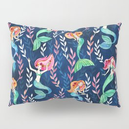 Merry Mermaids in Watercolor Pillow Sham