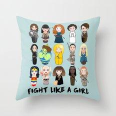 Kokeshis Fight like a girl Throw Pillow