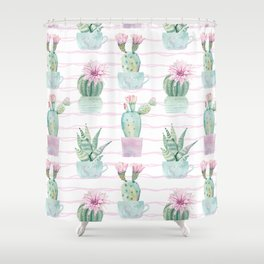 Cute Potted Cacti Stripe Pattern Shower Curtain