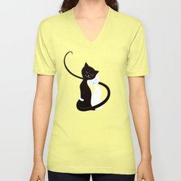 White And Black Cats In Love Unisex V-Neck