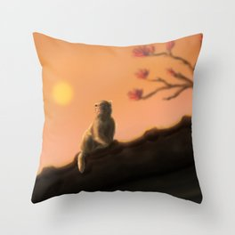 Monkey On The Roof Throw Pillow