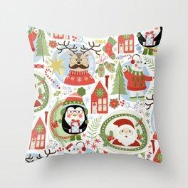 Holiday Christmas Winter Wonderland with Hipster Santa Reindeer Polar Bears and Penguins Throw Pillow