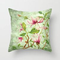magnolia Throw Pillows featuring Magnolia by CatDesignz