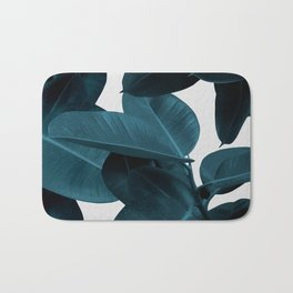 Indigo Blue Plant Leaves Bath Mat