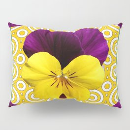 Golden Modern Art Deco Purple Pansy Pattern Art Pillow Sham