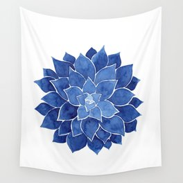 Indigo Succulent |  Watercolor Painting Wall Tapestry