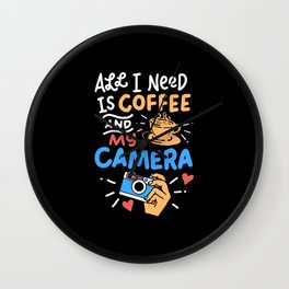 Photography - Coffee And Camera Wall Clock