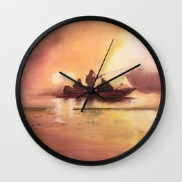 Marina Boat Fire - Fire Series Wall Clock