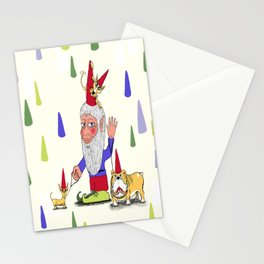 A gnome, two dogs, and a cat Stationery Cards