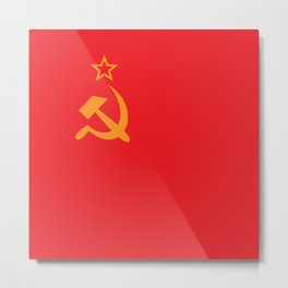 Flag of the Soviet Union. Golden hammer and sickle and the red banner. Metal Print