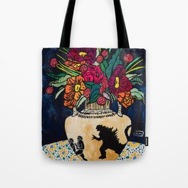 Godzilla Greek Urn with Peony Bouquet Winter Floral Still Life Painting Tote Bag