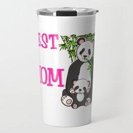 Cute Best Panda Mom Ever Adorable Panda Family Travel Mug