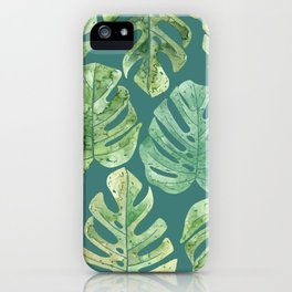 Jungle leaves Monstera leaves Palm leaves Tropical iPhone Case
