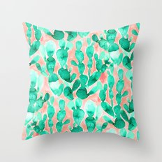 Paddle Cactus Blush Throw Pillow