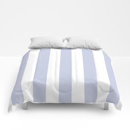 Light periwinkle blue - solid color - white vertical lines pattern Comforters