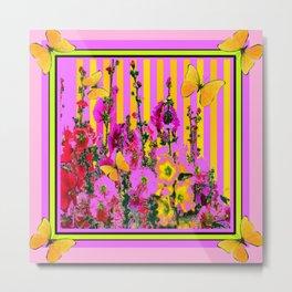 YELLOW BUTTERFLIES  PINK FLORAL GARDEN  ABSTRACT Metal Print
