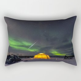 Northern Lights and Geminid Meteor Over the Arctic Rectangular Pillow