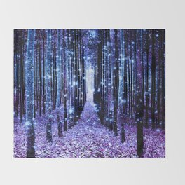 Magical Forest Turquoise Purple Throw Blanket
