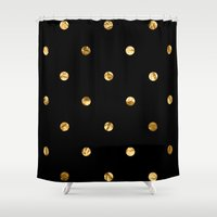 black and gold Shower Curtains featuring Black & Gold by The Wellington Boot
