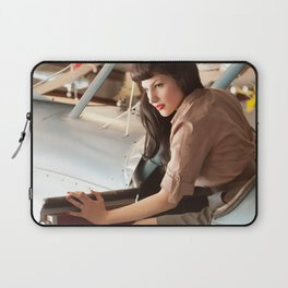 """Flight Deck"" - The Playful Pinup - Airplane Pilot Pin-up Girl by Maxwell H. Johnson Laptop Sleeve"