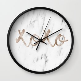 Rose gold marble XOXO Wall Clock