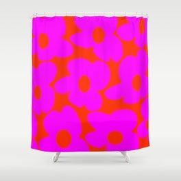 Pink Retro Flowers Orange Red Background #decor #society6 #buyart Shower Curtain