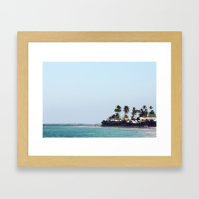 Beach, palm trees in Dominican Republic Framed Art Print