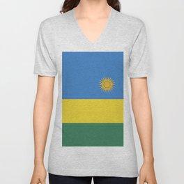 Rwanda flag emblem Unisex V-Neck